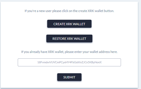 How to create and restore XRK Wallet? | RecordsKeeper